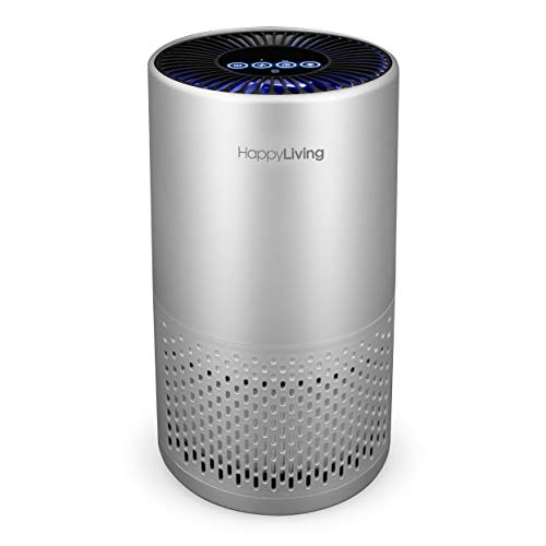 Happy Living H13 HEPA Air Purifiers for Home, 4-Stage Filtration Bedroom Air Cleaner 360-Degree for Smokers, Odors, Allergens, Pets, Pollen, Dust, Sleep Mode, 240 sq ft