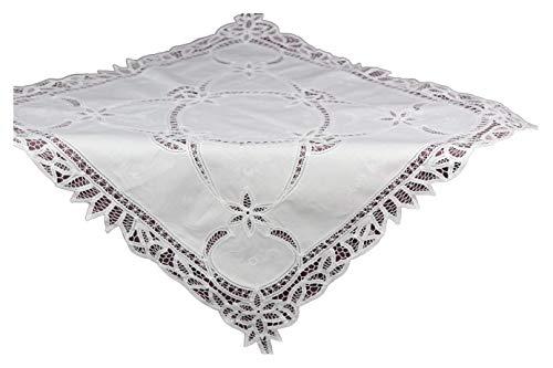 Mantel Richelieu de ganchillo, 100% algodón, 80 x 80 cm, color blanco
