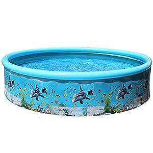 Piscina Plegable Piscina Redonda para niños Suministros para Fiestas al Aire Libre de Verano para niños Piscina para Adultos con patrón de Peces en el océano – Azul 247x45Cm