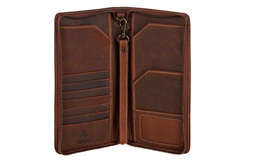 Visconti 728 Large Distressed Leather Travel Wallet for Passports, Tickets and Credit Cards (Tan)