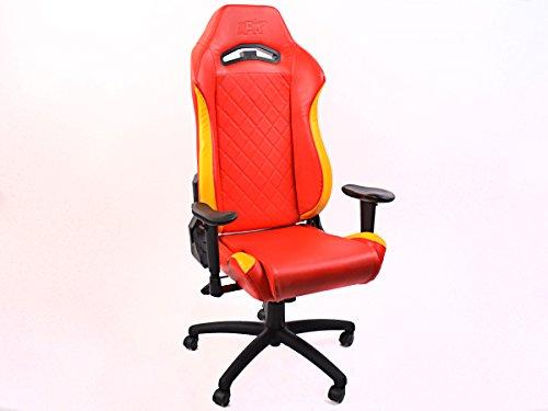 FK-Automotive FK sportstoel bureaustoel gaming stoel London rood/geel draaistoel bureaustoel FKRSE18527