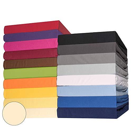 CelinaTex Lucina Spannbettlaken Doppelpack 90x200-100x200 cm Natur beige Baumwolle Spannbetttuch Jersey Bettlaken