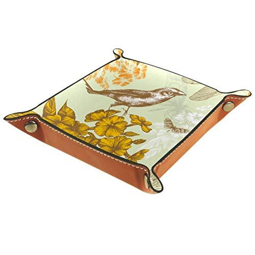 Bandeja de Valet, Organizador de Escritorio, Caja de Almacenamiento, Cuero, patrón Floral sin Costuras, pájaro Volador, Butterflies, Bandeja de Recogida para Uso doméstico