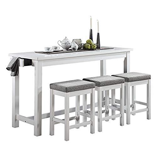 Lexicon Oreille 4-Piece Counter Height Dining Set, White