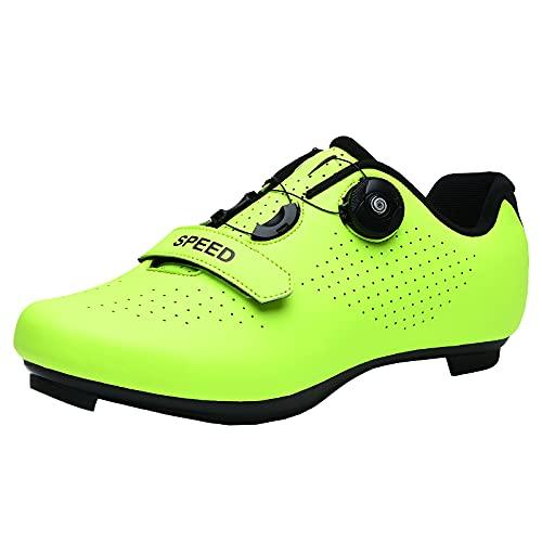CHUIKUAJ Hombre Mujer Bicicleta de Carretera Calzado de Ciclismo Calzado de Bicicleta Peloton Zapato de Montar SPD Compatible para Interior/Exterior,Green-42EU