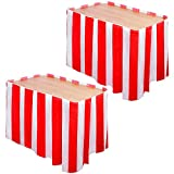 Elcoho 2 Pack Carnival Circus Table Skirt Red and White Striped Table Cloths for Circus Theme Party Birthday Party Decorations