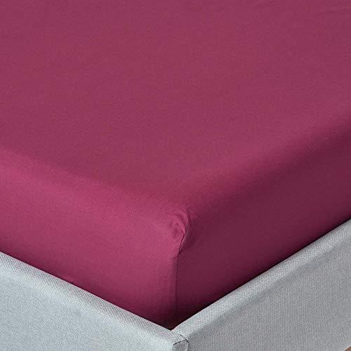 HOMESCAPES Drap Housse de, (190 x 90cm). Pur Coton Ultra Doux d'Egypte (qualité Percale 60 Fils/cm²). Couleur Rouge Bordeaux uni