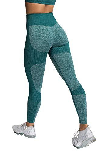 Voqeen Camisola y Pantalones de Yoga de Punto Sin Costuras para Mujer, Mallas Elásticas de Cintura Alta, Mallas para Correr, Deporte, Gimnasio, Entrenamiento