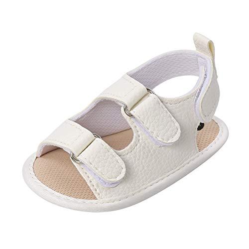 Julhold Sandalias Planas Zapatos Myggpp Suave Antideslizante Suela de Goma Verano Prewalker, color Blanco, talla 20 EU