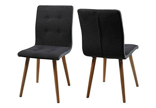 Möbel Akut Stuhl Frida 2er Set Retro Polsterstuhl Bezug Filzstoff Beine Eiche massiv geölt (dunkelgrau Seiten hellgrau)