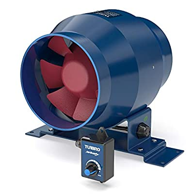 TURBRO AirSupply ES4 4 Inch Inline Duct Fan, 195 CFM Energy Efficient Exhaust Fan with Variable Speed Controlled EC Motor for Grow Tents, Hydroponics, Industrial and Residential Ventilation
