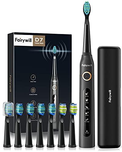 Cepillo de dientes eléctricos, 4 Horas de Recarga la Duración es de 30 Días,Cepillo de Dientes de Viaje con Bolso de Viaje y 8 Cabezas de Cepillo de Dientes Negro para Fairywill