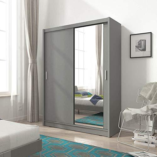 PSK Armario para dormitorio con 2 puertas correderas de 130 cm de ancho, color gris