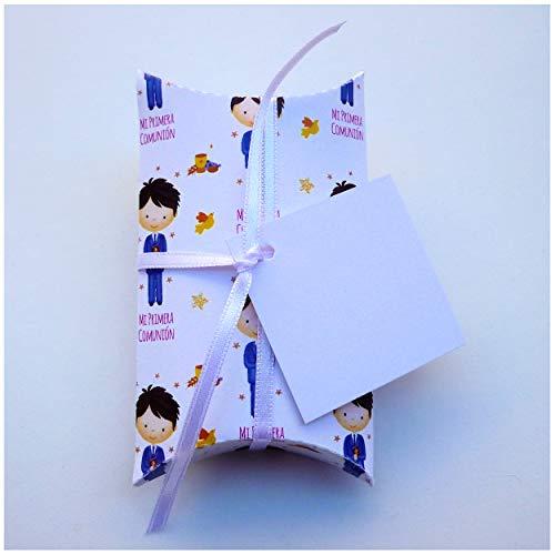 Regalos Comunión Niño - 30 Cajas para Detalles Comunión - Bombones - Recuerdos Para Invitados - Candy Bar - Decoración - Con Cinta y Tarjeta
