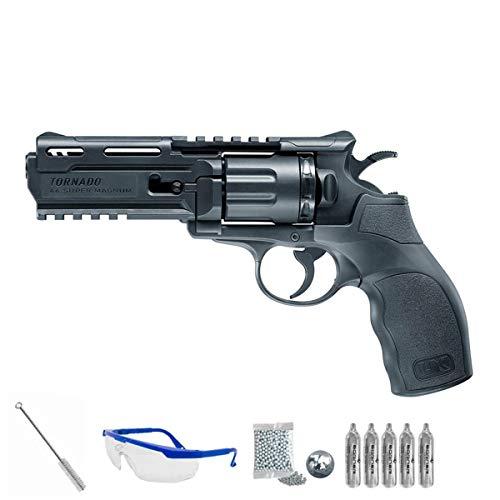 PACK pistola de aire comprimido - Revólver Umarex UX tornado balines BBs acero <3J