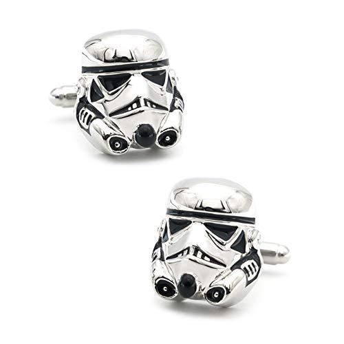 HMYDZ Herren Darth Vader Manschettenknöpfe Messing Material Silber Farbe Star Wars Dark Warrior Manschettenknöpfe