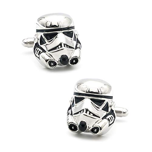 ZNXHNDSH Herren Darth Vader Manschettenknöpfe Messing Material Silber Farbe Star Wars Dark Warrior Manschettenknöpfe