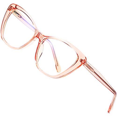 ATTCL Damen blaulichtfilter brille Cateye computerbrille zum Blockieren von UV-Kopfschmerz [Augenbelastung Reduzieren] Gaming Brillen(Herren/Damen) 2004 clear+Pink