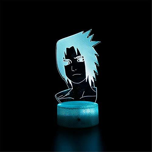 Lámpara de ilusión óptica 3D 3D Naruto Uchiha Sasuke A 16 colores que cambian la lámpara de noche con mando a distancia, regalo de cumpleaños para niños y adultos