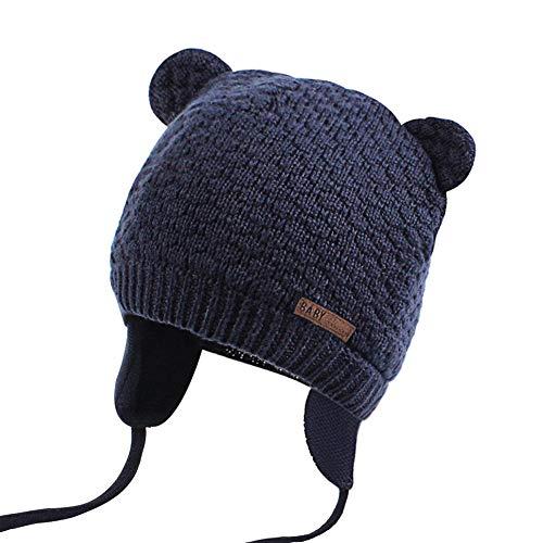JOYORUN Unisex - Baby Mütze Beanie Strickmütze Unifarbe Wintermütze Navy Blau 43-46cm (Hersteller Größe: M)
