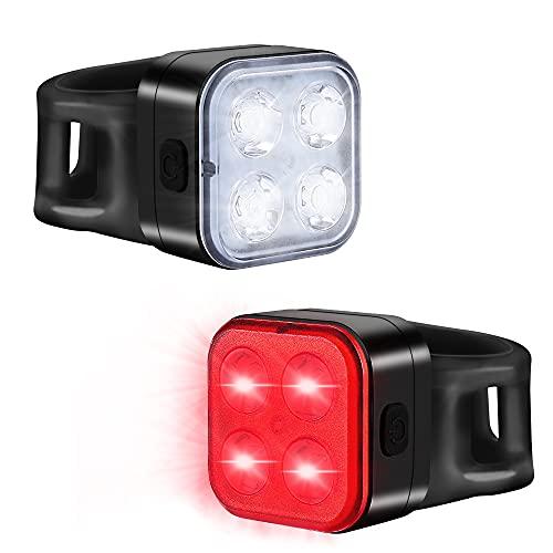 Teshudi Fahrradlicht-Set, wiederaufladbare Fahrradlichter vorne und hinten, superhelle Fahrradlichter, sofortige Installation, passend für alle Fahrräder, 4 Lichtmodi, wasserdicht, leicht, langlebig