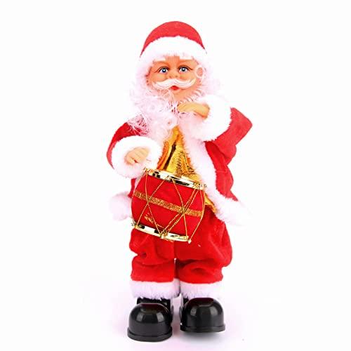 AIMMIE Papá Noel eléctrico de Navidad, Juguete eléctrico de Papá Noel con Papá Noel y Tambor Canto navideño Papá Noel Musical Sacudiendo Papá Noel Decoraciones para Fiestas Navidad Año Nuevo Regalo