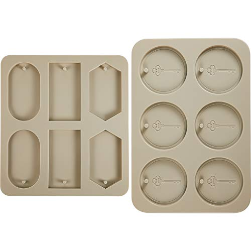 2 Pieces Silicone Wax Molds Round Circle Keychain Resin Mold Aromatherapy Wax Silicone Molds Rectangle Epoxy Mold Jewelry Making Silicone Mold with Hanging Hole for DIY Pendants Crafts Decoration
