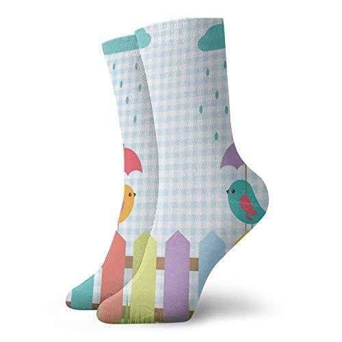 Calcetines de compresión para mujer y hombre, dibujos animados de pájaros coloridos debajo de los paraguas, ideal para circulación, médico, correr