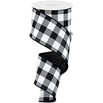 """5 Yards 2.5/"""" Black and White Buffalo Plaid Check Canvas Wired Ribbon"""
