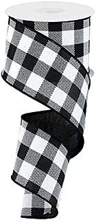 Plaid Check Wired Edge Ribbon - 10 Yards (Black, White, 2.5