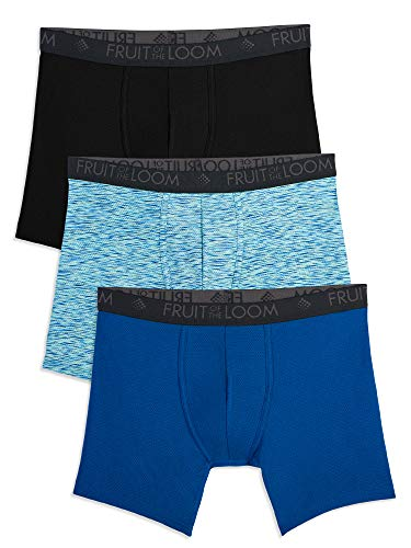 Fruit of the Loom Men's Breathable Underwear, Micro Mesh - Prints - Boxer Brief, Large