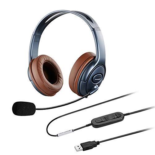 Oppetec Over Ear USB Laptop Headset mit Noise Cancelling Mikrofon für die Arbeit zu Hause Online-Kurs Chat Videokonferenz VoIP Softphones Skype Zoom Lync Jabber