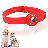 Yiomxhi Collar Perro Compatible con Airtag, Collare Ajustable para Perros pequeños medianos y Grandes, para Caminar Correr Entrenamiento Uso Quotidiano, Silicona Collar de Perro, Impermeable, Rojo