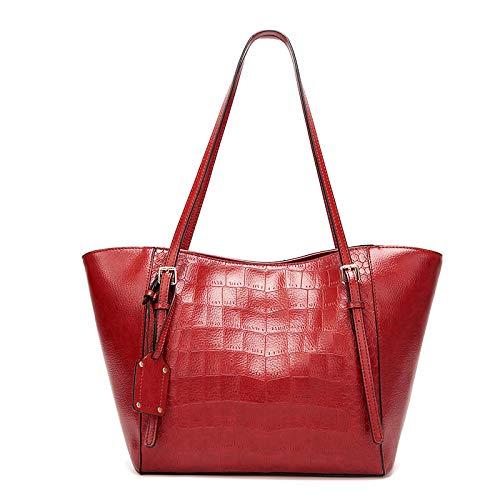 LINJIANG Bolso De Mujer con Diseño De Cocodrilo Bolso De Cuero Suave Moda Simple Bolso Grande De Un Hombro Rojo Vino