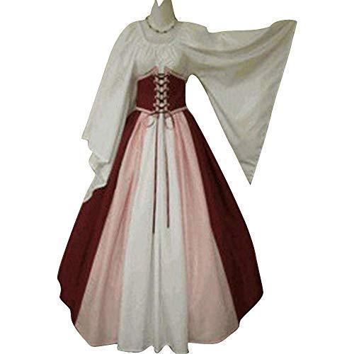 CDE Damen Vintage Lang Mittelalter Kostüm Gothic Viktorianisches Cosplay Kleid Renaissance Wirtin Maxikleid für Party Karneval (Weinrot und Weiß, XXL)