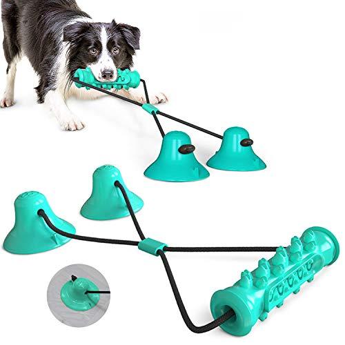 KINGLEAD Juguetes para Perros  Juguete Multifuncional para mordeduras de molares con Ventosa Juguete del Cepillo de Dientes del Perrito Juguete Interactivo de Cuerda de Entrenamiento para Perro
