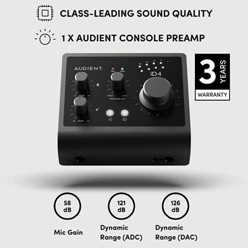 Interfaz de audio Audient iD4 MKII, Preamplificador de micrófono de consola clase A (USB-C de alta velocidad, mezcla de monitor y función de panorámica de monitor, compatible con Mac/PC/iOS), Negro