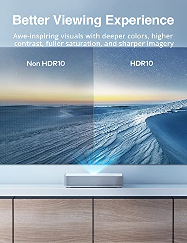 VAVA 4K UST Laser TV Home Theatre Projector   Bright 2500 ANSI Lumens   Ultra Short Throw   HDR10   Built-in Harman Kardon Sound Bar   ALPD 3.0   Smart Android System, White