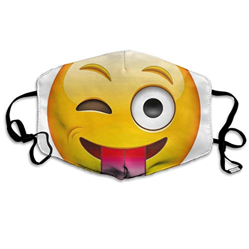 Mundschutz Atmungsaktive Gesichtsmundabdeckung Staubdichter,Cartoon Like Technologic Smiley Flirty Sarcastic Happy Face with Tongue Modern Print,Gesichtsdekorationen