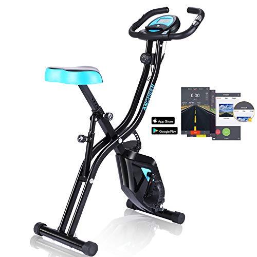 ANCHEER Heimtrainer Fahrrad, Klappfahrrad F-Bike, Indoor Cycling Bike mit App Anbindung, 10 Widerstandsstufen und Arm Trainingsbändern