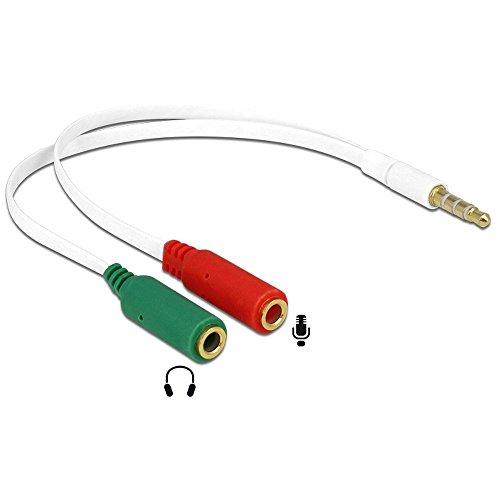 Delock Adapter (Klinkenstecker 3, 5mm - 2X Klinkenbuchse 3, 5mm, 4-polig) Weiß, 65447