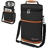 OPUX Premium Isolierte Weintasche für 2 Flaschen | Extra Schutz, elegant, praktisch, langlebig, Weintasche | Korkenzieher im Lieferumfang enthalten (braun)