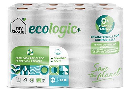 My Tissue - 1 Paquete de Papel WC Reciclado, 300 Servicios, 24 Rollos - Ecológico, Doble Rollo, Dos Capas, Compacto, Suave, Certificado FSC Recycled, Color Blanco