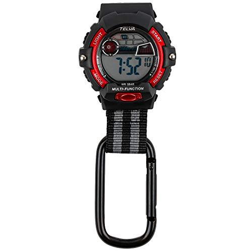 [クレファー] 懐中時計 カラビナウォッチ デジタル 防水 ストップウォッチ ライト 付き ブラック レッド CB-D239-BKR