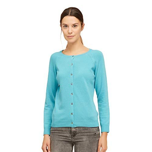 Brunella Gori Cardigan con Bottoni Coreana in 90% Merino 10% Cashmere Color Turchese Taglia M