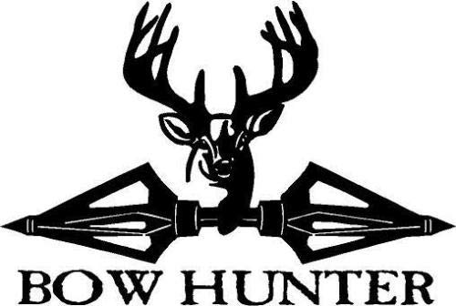 Black Vinyl Decal - Deer broadheads Antler Bow Hunter Hunting Horns Buck, Die Cut Decal Bumper Sticker for Windows, Cars, Trucks, Laptops, Etc.