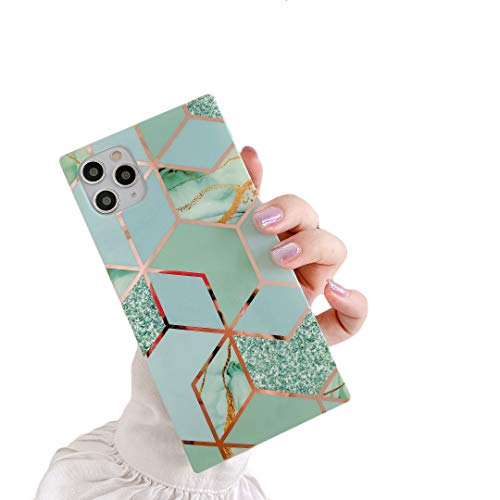 """Cocomii Square Geometric Marble iPhone 11 Case, Slim Thin Glossy Soft Flexible TPU Silicone Rubber Gel Trunk Box Square Edges Fashion Bumper Cover Compatible with Apple iPhone 11 6.1"""" (Green/Glitter)"""