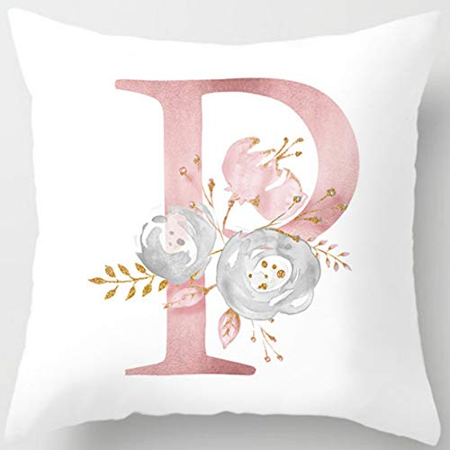 Eanpet Throw Pillow Covers Alphabet Decorative Pillow Cases ABC Letter Flowers Cushion Covers 18 x 18 Inch Square Pillow Protectors for Sofa Couch Bedroom Car Chair Home Decor (P)