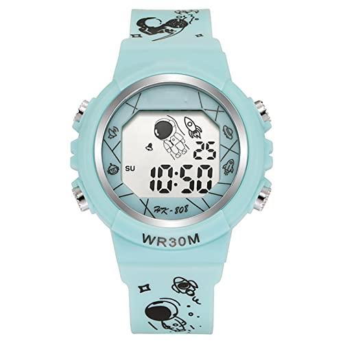 Chahu Reloj electrónico para niños multifunción minimalista reloj digital astronauta patrón correa casual unisex deportes reloj