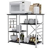 sogesfurniture Microwave Oven Shelf Unit Storage Organization Rack, 3 Tier Kitchen Baker's Rack Utility Workstation Standing Shelf with Hooks, Black Walnut 171-BK-BH